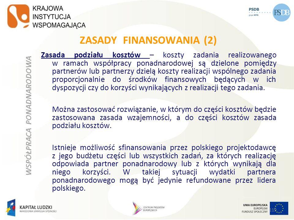 ZASADY FINANSOWANIA (2) Zasada podziału kosztów – koszty zadania realizowanego w ramach współpracy ponadnarodowej są dzielone pomiędzy partnerów lub p