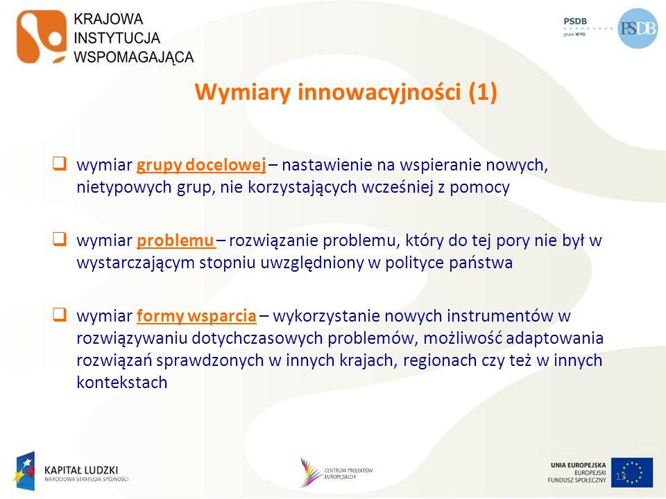 13 Wymiary innowacyjności (1) wymiar grupy docelowej – nastawienie na wspieranie nowych, nietypowych grup, nie korzystających wcześniej z pomocy wymia