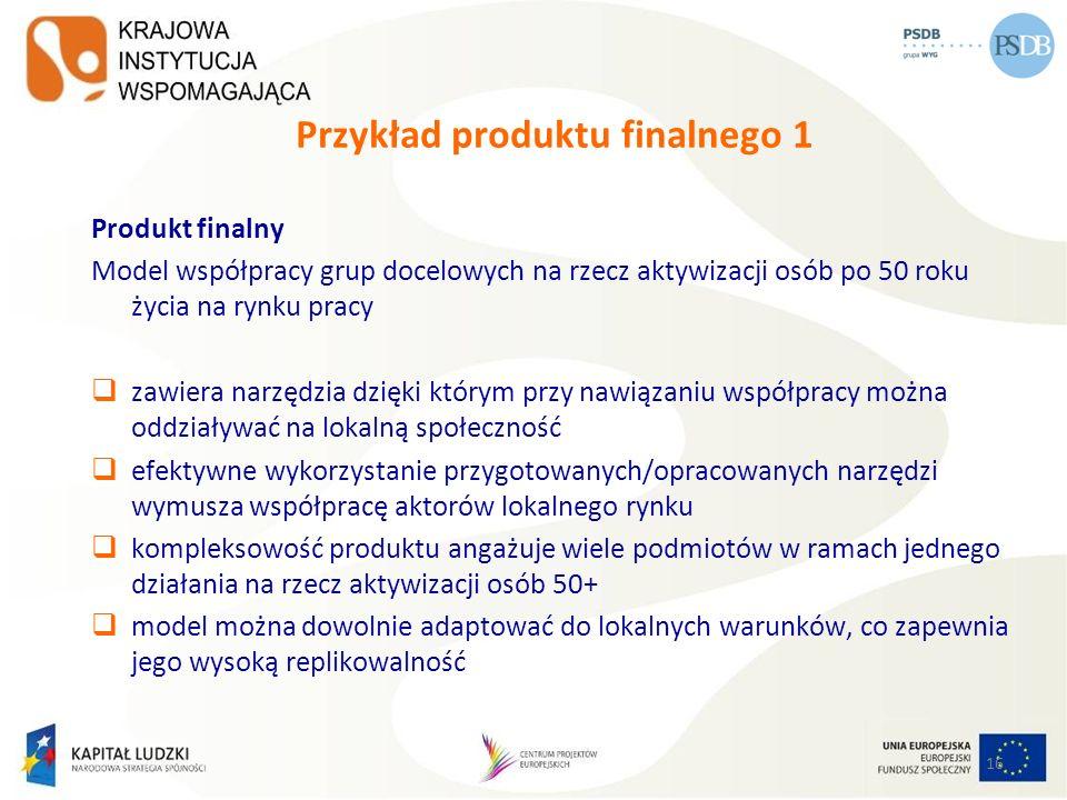 16 Przykład produktu finalnego 1 Produkt finalny Model współpracy grup docelowych na rzecz aktywizacji osób po 50 roku życia na rynku pracy zawiera na