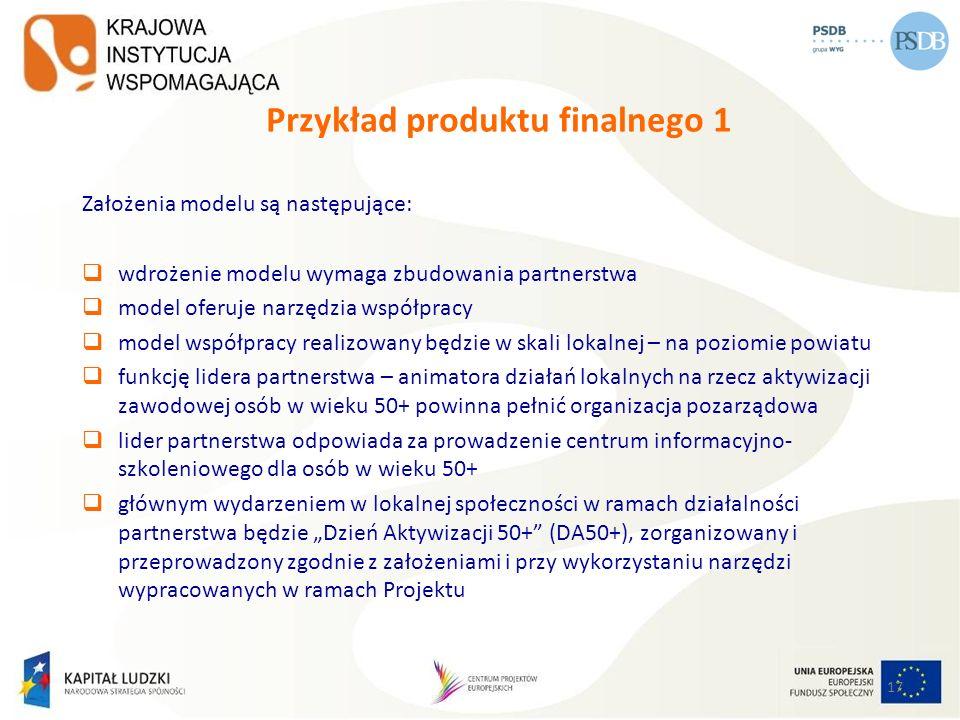17 Przykład produktu finalnego 1 Założenia modelu są następujące: wdrożenie modelu wymaga zbudowania partnerstwa model oferuje narzędzia współpracy mo