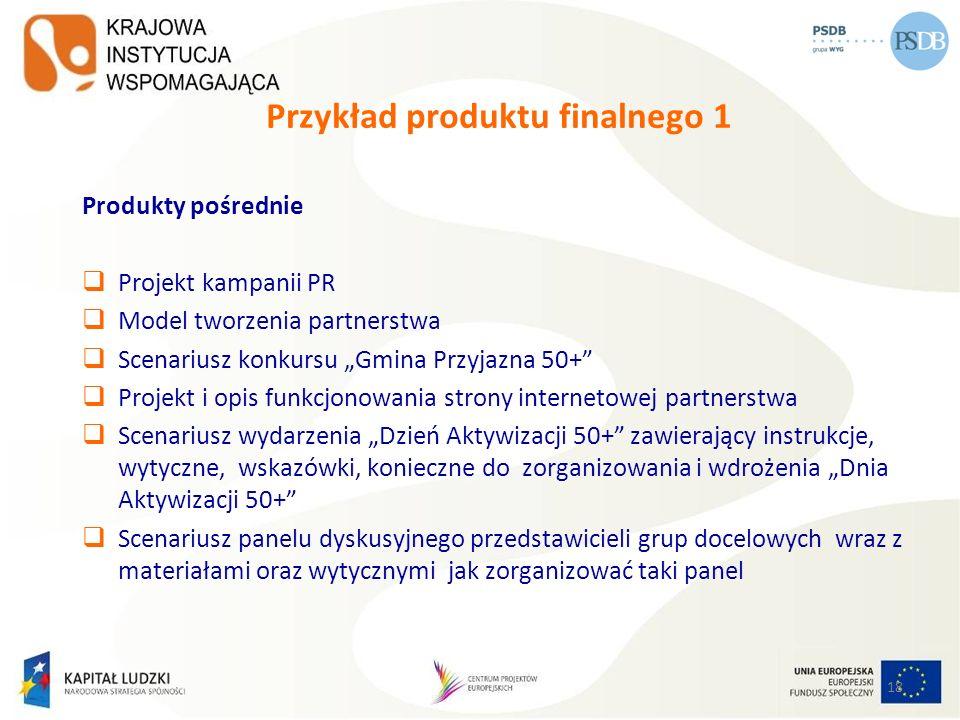 18 Przykład produktu finalnego 1 Produkty pośrednie Projekt kampanii PR Model tworzenia partnerstwa Scenariusz konkursu Gmina Przyjazna 50+ Projekt i
