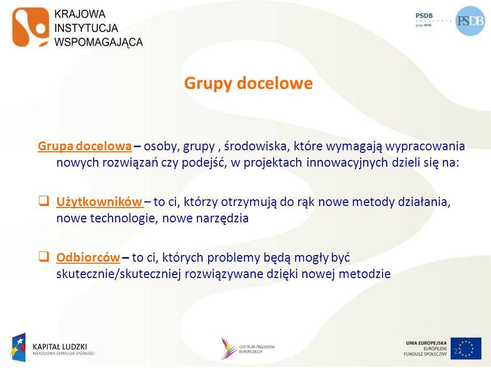 22 Grupy docelowe Grupa docelowa – osoby, grupy, środowiska, które wymagają wypracowania nowych rozwiązań czy podejść, w projektach innowacyjnych dzie