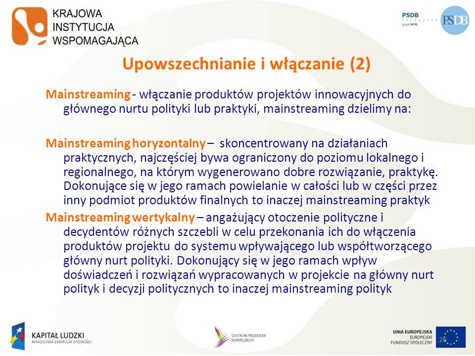 26 Upowszechnianie i włączanie (2) Mainstreaming - włączanie produktów projektów innowacyjnych do głównego nurtu polityki lub praktyki, mainstreaming