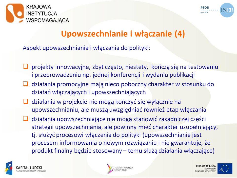 28 Upowszechnianie i włączanie (4) Aspekt upowszechniania i włączania do polityki: projekty innowacyjne, zbyt często, niestety, kończą się na testowan
