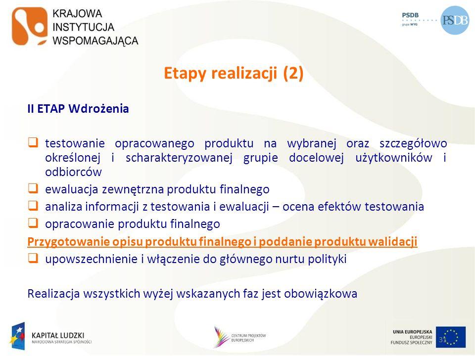 31 Etapy realizacji (2) II ETAP Wdrożenia testowanie opracowanego produktu na wybranej oraz szczegółowo określonej i scharakteryzowanej grupie docelow