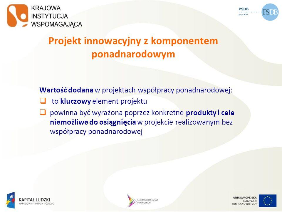 Projekt innowacyjny z komponentem ponadnarodowym Wartość dodana w projektach współpracy ponadnarodowej: to kluczowy element projektu powinna być wyraż