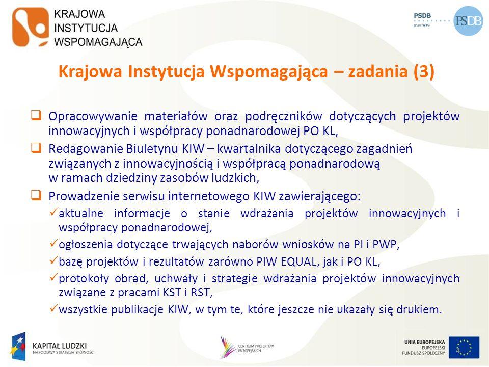 Krajowa Instytucja Wspomagająca – zadania (3) Opracowywanie materiałów oraz podręczników dotyczących projektów innowacyjnych i współpracy ponadnarodow
