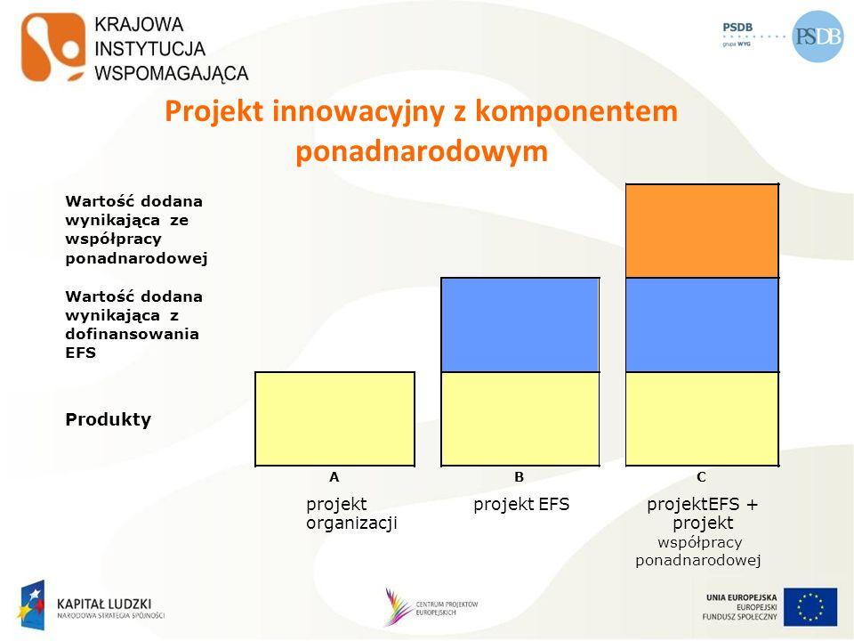 Projekt innowacyjny z komponentem ponadnarodowym Wartośćdodana wynikającaze współpracy ponadnarodowej Wartośćdodana wynikającaz dofinansowania EFS Pro