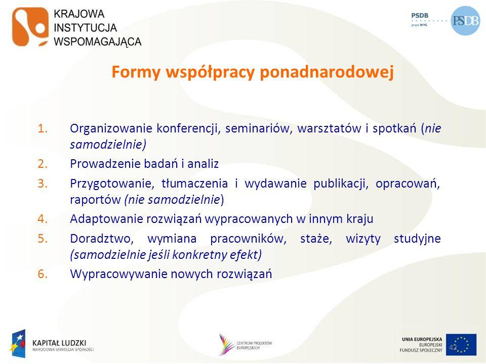 42 Formy współpracy ponadnarodowej 1.Organizowanie konferencji, seminariów, warsztatów i spotkań (nie samodzielnie) 2.Prowadzenie badań i analiz 3.Prz