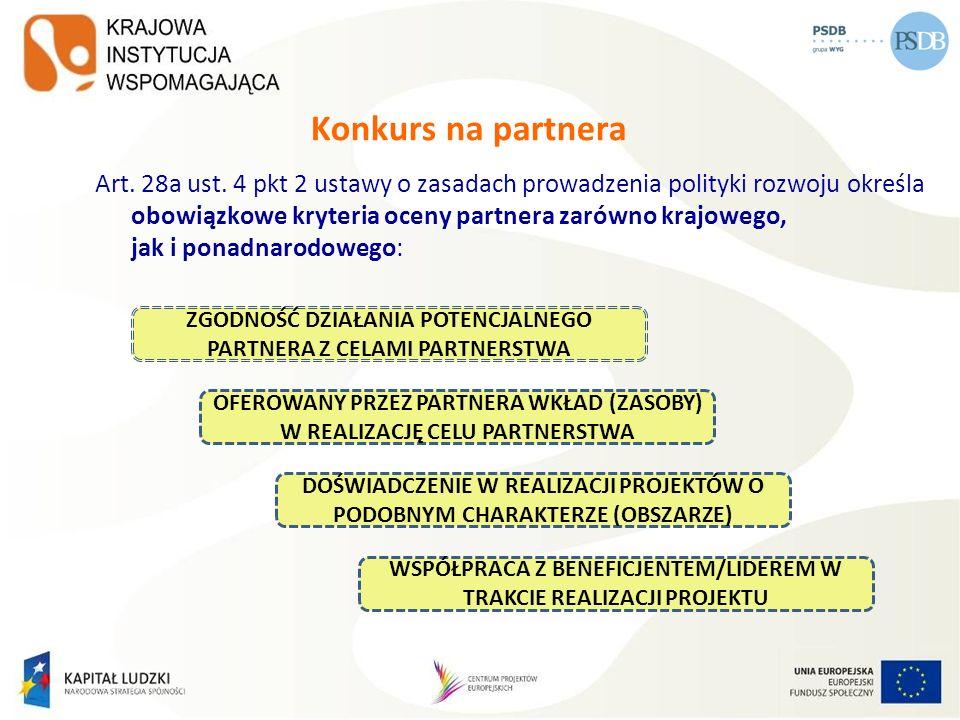 Konkurs na partnera Art. 28a ust. 4 pkt 2 ustawy o zasadach prowadzenia polityki rozwoju określa obowiązkowe kryteria oceny partnera zarówno krajowego