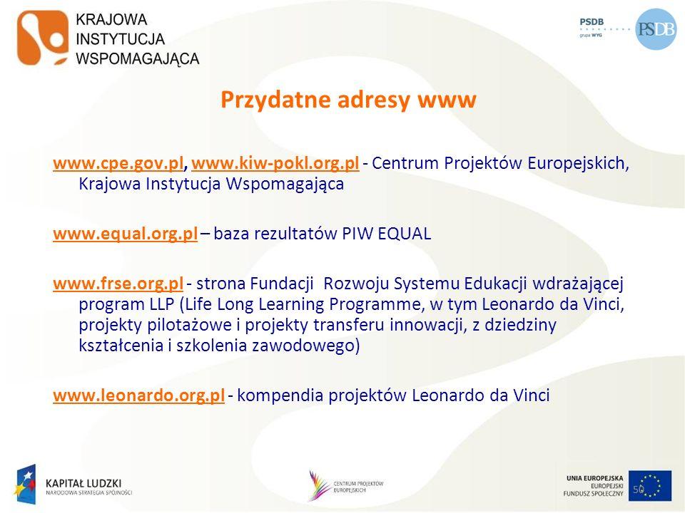 50 Przydatne adresy www www.cpe.gov.plwww.cpe.gov.pl, www.kiw-pokl.org.pl - Centrum Projektów Europejskich, Krajowa Instytucja Wspomagającawww.kiw-pok