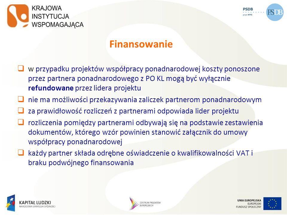 Finansowanie w przypadku projektów współpracy ponadnarodowej koszty ponoszone przez partnera ponadnarodowego z PO KL mogą być wyłącznie refundowane pr
