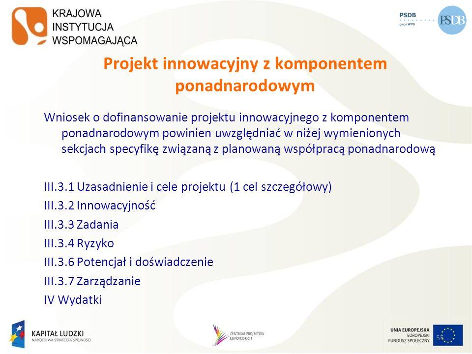 55 Projekt innowacyjny z komponentem ponadnarodowym Wniosek o dofinansowanie projektu innowacyjnego z komponentem ponadnarodowym powinien uwzględniać