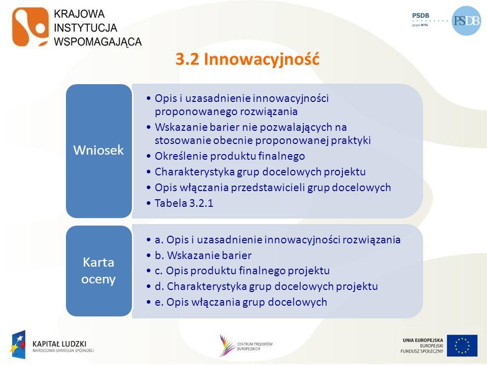 3.2 Innowacyjność Opis i uzasadnienie innowacyjności proponowanego rozwiązania Wskazanie barier nie pozwalających na stosowanie obecnie proponowanej p