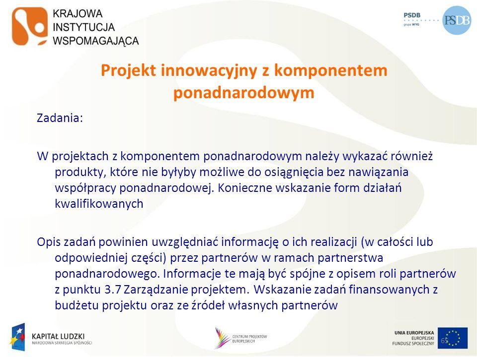 65 Projekt innowacyjny z komponentem ponadnarodowym Zadania: W projektach z komponentem ponadnarodowym należy wykazać również produkty, które nie były