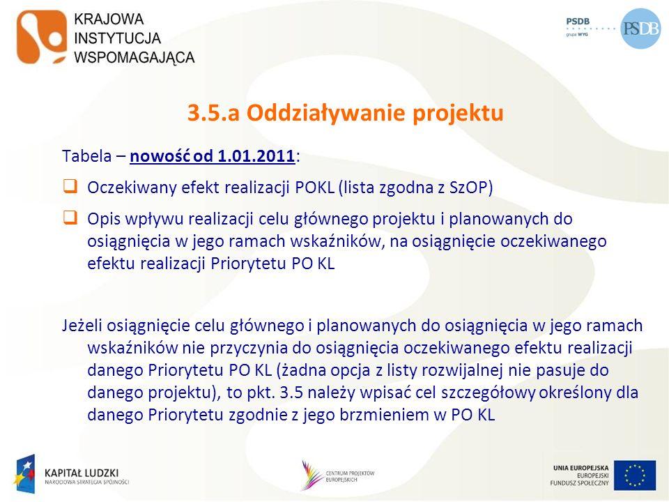 3.5.a Oddziaływanie projektu Tabela – nowość od 1.01.2011: Oczekiwany efekt realizacji POKL (lista zgodna z SzOP) Opis wpływu realizacji celu głównego