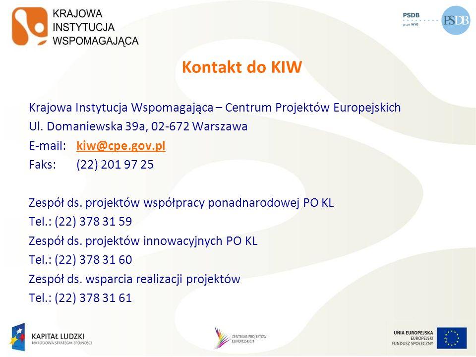 Kontakt do KIW Krajowa Instytucja Wspomagająca – Centrum Projektów Europejskich Ul. Domaniewska 39a, 02-672 Warszawa E-mail: kiw@cpe.gov.plkiw@cpe.gov