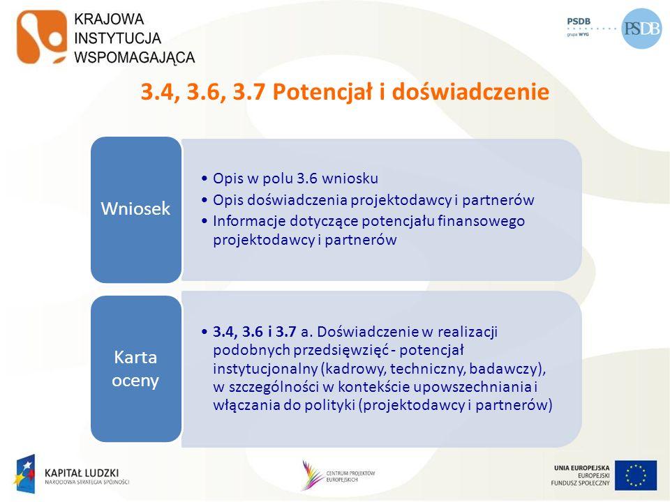 3.4, 3.6, 3.7 Potencjał i doświadczenie Opis w polu 3.6 wniosku Opis doświadczenia projektodawcy i partnerów Informacje dotyczące potencjału finansowe