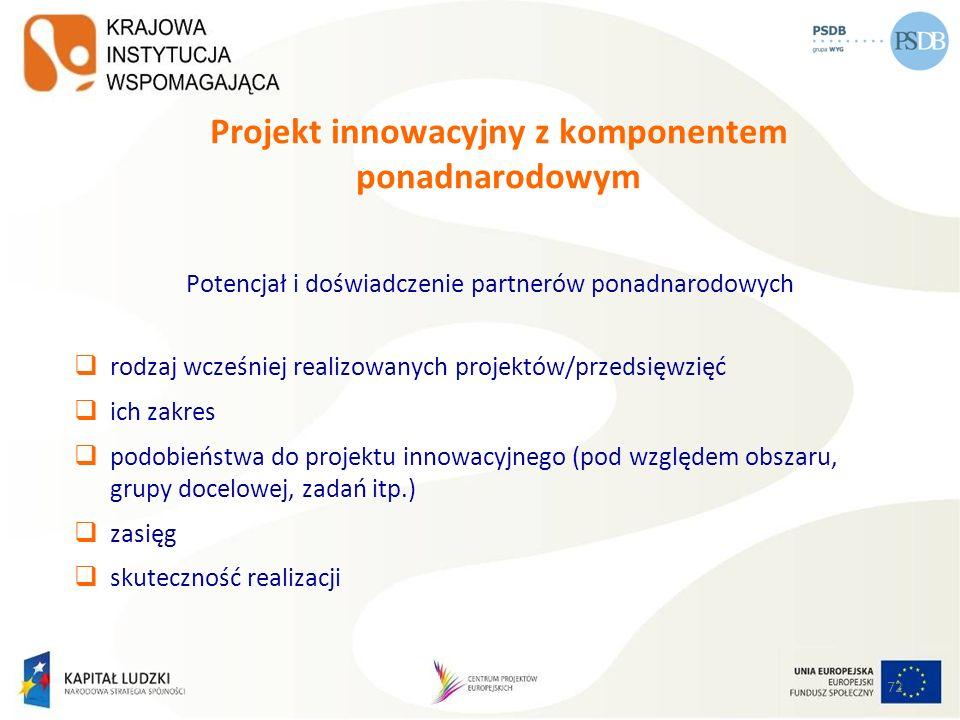 72 Projekt innowacyjny z komponentem ponadnarodowym Potencjał i doświadczenie partnerów ponadnarodowych rodzaj wcześniej realizowanych projektów/przed