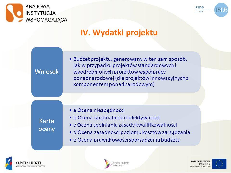 IV. Wydatki projektu Budżet projektu, generowany w ten sam sposób, jak w przypadku projektów standardowych i wyodrębnionych projektów współpracy ponad