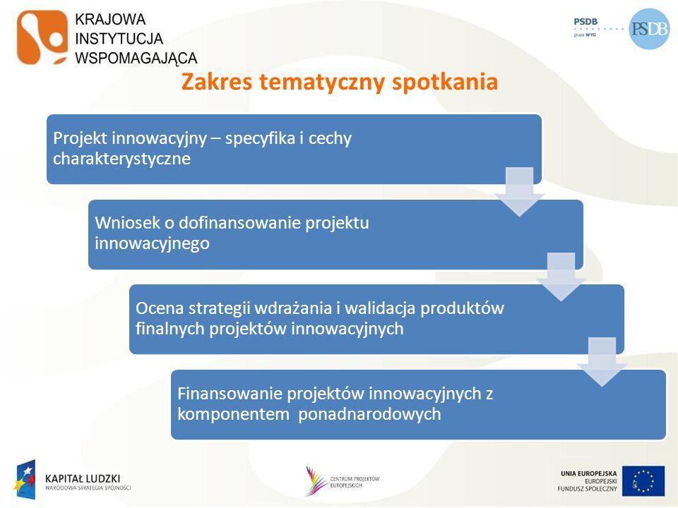 Projekt innowacyjny z komponentem ponadnarodowym Wartość dodana w projektach współpracy ponadnarodowej: to kluczowy element projektu powinna być wyrażona poprzez konkretne produkty i cele niemożliwe do osiągnięcia w projekcie realizowanym bez współpracy ponadnarodowej