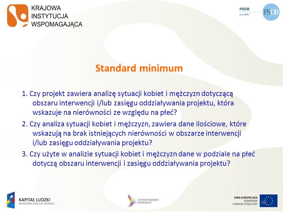 80 Standard minimum 1. Czy projekt zawiera analizę sytuacji kobiet i mężczyzn dotyczącą obszaru interwencji i/lub zasięgu oddziaływania projektu, któr