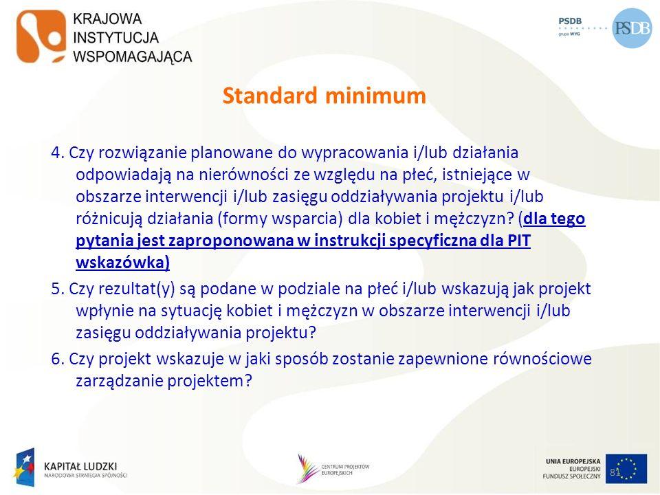81 Standard minimum 4. Czy rozwiązanie planowane do wypracowania i/lub działania odpowiadają na nierówności ze względu na płeć, istniejące w obszarze
