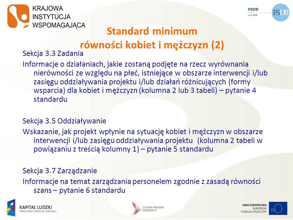83 Standard minimum równości kobiet i mężczyzn (2) Sekcja 3.3 Zadania Informacje o działaniach, jakie zostaną podjęte na rzecz wyrównania nierówności
