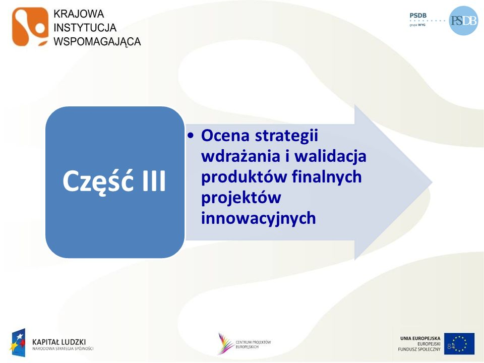 84 Ocena strategii wdrażania i walidacja produktów finalnych projektów innowacyjnych Część III