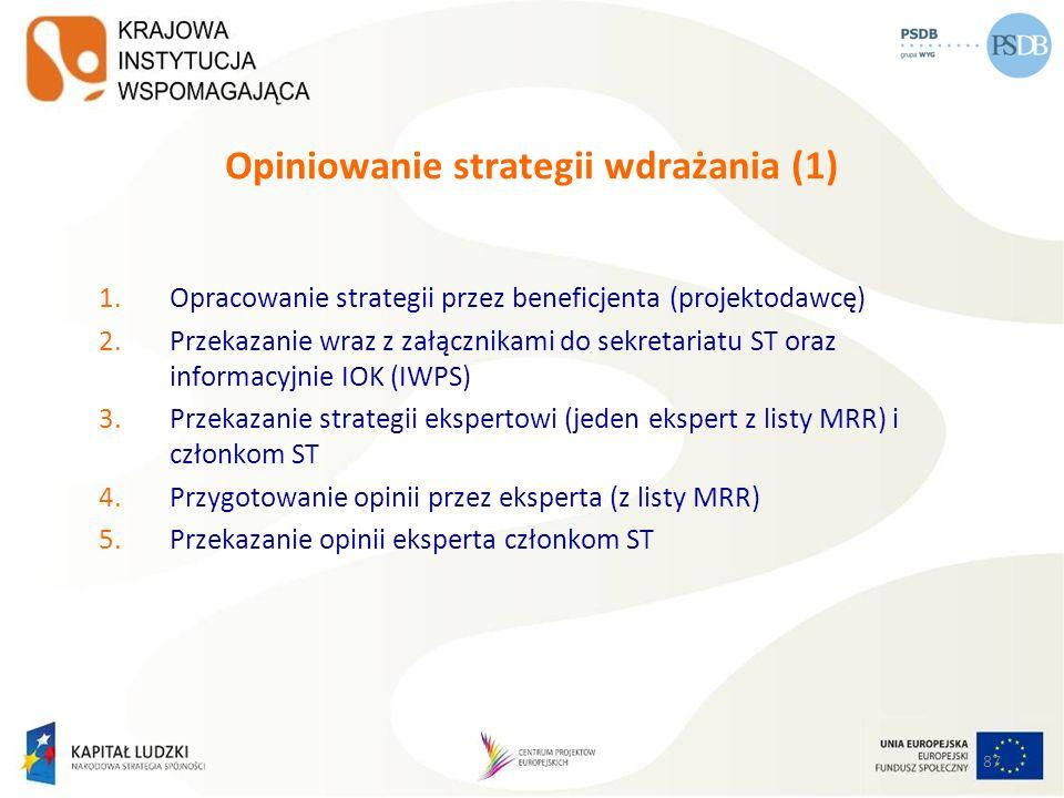 87 Opiniowanie strategii wdrażania (1) 1.Opracowanie strategii przez beneficjenta (projektodawcę) 2.Przekazanie wraz z załącznikami do sekretariatu ST