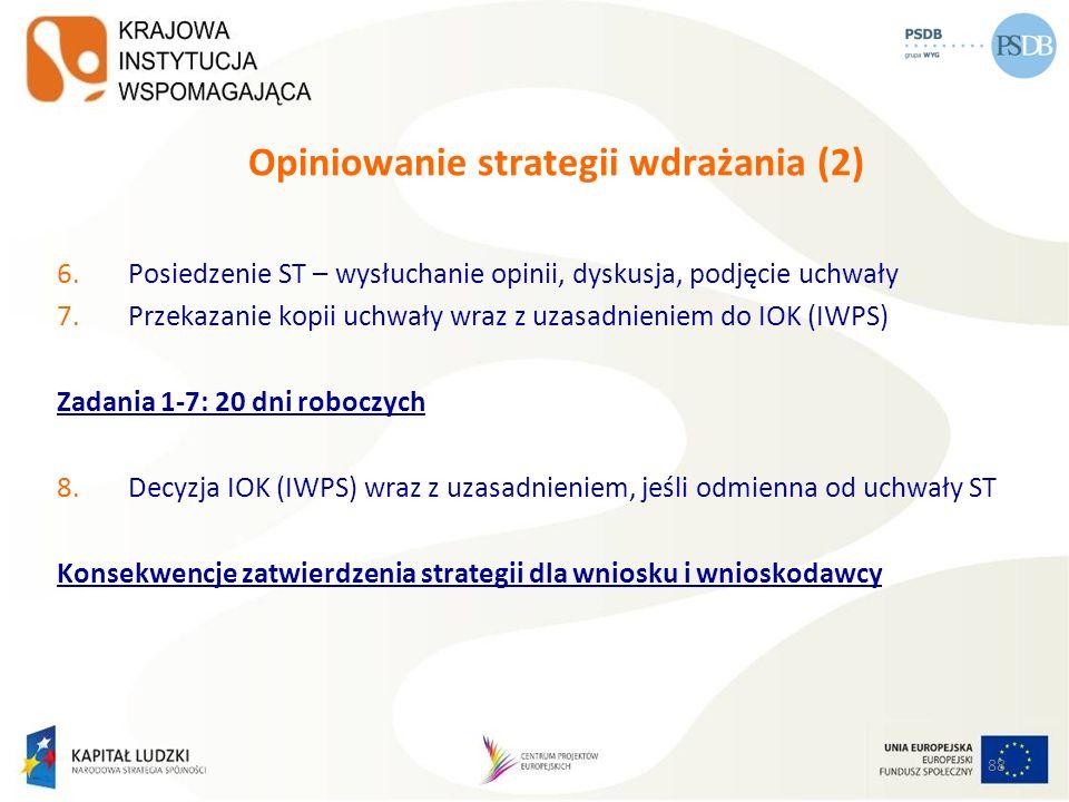 88 Opiniowanie strategii wdrażania (2) 6.Posiedzenie ST – wysłuchanie opinii, dyskusja, podjęcie uchwały 7.Przekazanie kopii uchwały wraz z uzasadnien
