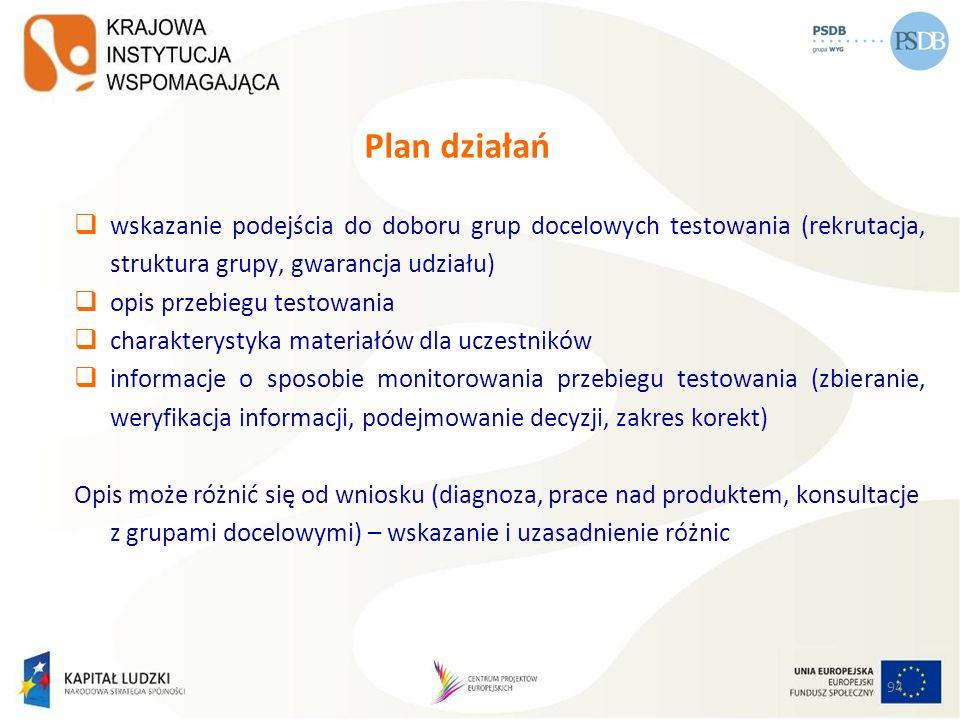 94 Plan działań wskazanie podejścia do doboru grup docelowych testowania (rekrutacja, struktura grupy, gwarancja udziału) opis przebiegu testowania ch