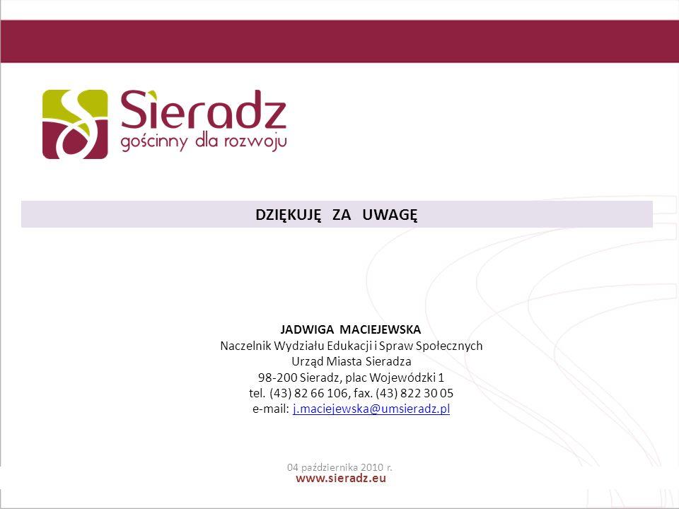 www.sieradz.eu DZIĘKUJĘ ZA UWAGĘ JADWIGA MACIEJEWSKA Naczelnik Wydziału Edukacji i Spraw Społecznych Urząd Miasta Sieradza 98-200 Sieradz, plac Wojewódzki 1 tel.