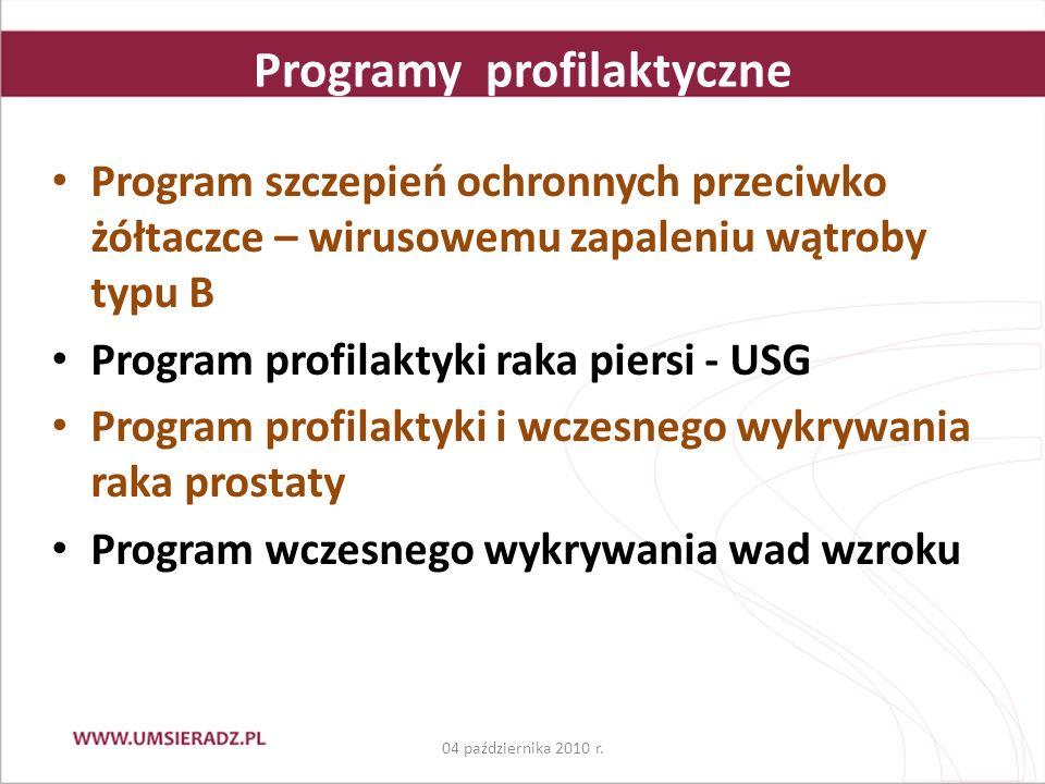 Programy profilaktyczne Program szczepień ochronnych przeciwko żółtaczce – wirusowemu zapaleniu wątroby typu B Program profilaktyki raka piersi - USG Program profilaktyki i wczesnego wykrywania raka prostaty Program wczesnego wykrywania wad wzroku 04 października 2010 r.