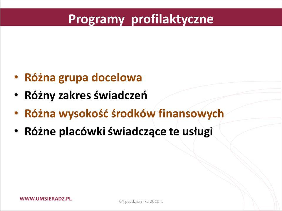 Programy profilaktyczne Różna grupa docelowa Różny zakres świadczeń Różna wysokość środków finansowych Różne placówki świadczące te usługi 04 października 2010 r.