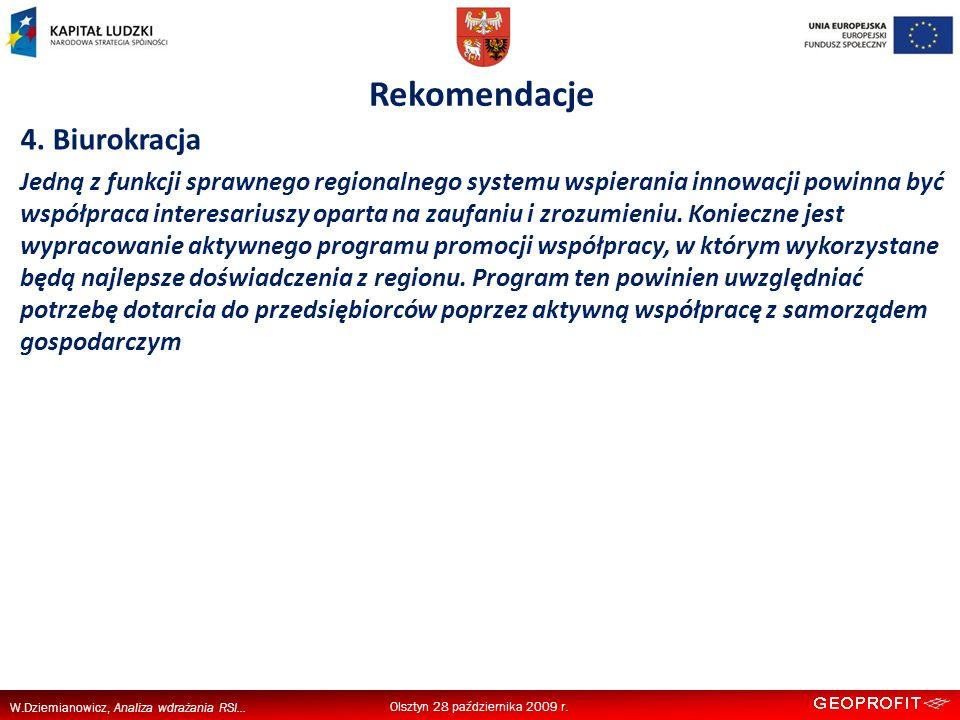 W.Dziemianowicz, Analiza wdrażania RSI... Rekomendacje Olsztyn 28 października 2009 r.