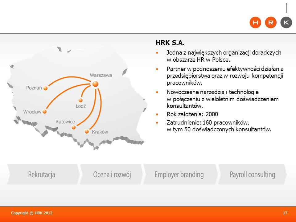HRK S.A. Jedna z największych organizacji doradczych w obszarze HR w Polsce. Partner w podnoszeniu efektywności działania przedsiębiorstwa oraz w rozw