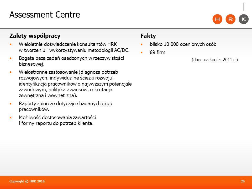 Assessment Centre Zalety współpracy Wieloletnie doświadczenie konsultantów HRK w tworzeniu i wykorzystywaniu metodologii AC/DC. Bogata baza zadań osad