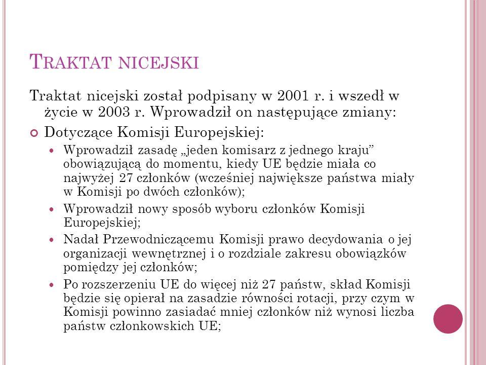 T RAKTAT NICEJSKI Traktat nicejski został podpisany w 2001 r. i wszedł w życie w 2003 r. Wprowadził on następujące zmiany: Dotyczące Komisji Europejsk