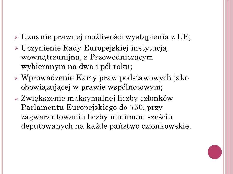 Uznanie prawnej możliwości wystąpienia z UE; Uczynienie Rady Europejskiej instytucją wewnątrzunijną, z Przewodniczącym wybieranym na dwa i pół roku; W