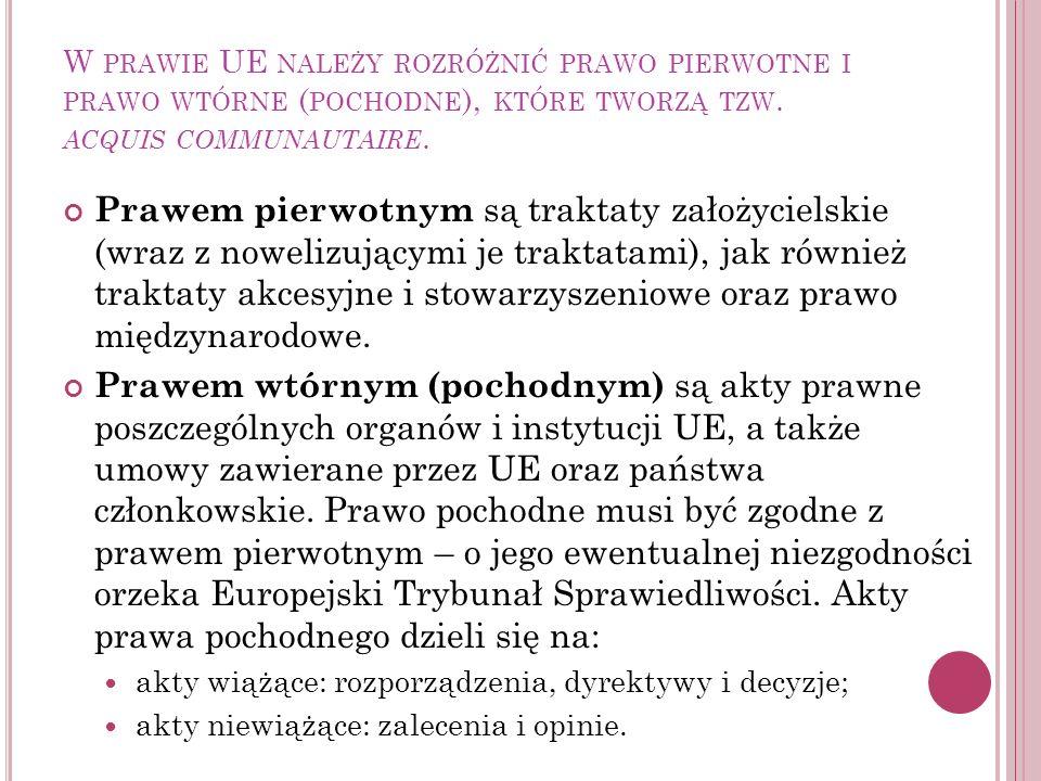W PRAWIE UE NALEŻY ROZRÓŻNIĆ PRAWO PIERWOTNE I PRAWO WTÓRNE ( POCHODNE ), KTÓRE TWORZĄ TZW. ACQUIS COMMUNAUTAIRE. Prawem pierwotnym są traktaty założy