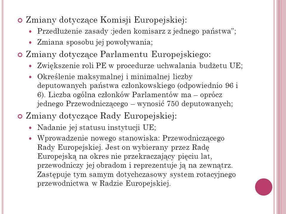 Zmiany dotyczące Komisji Europejskiej: Przedłużenie zasady :jeden komisarz z jednego państwa; Zmiana sposobu jej powoływania; Zmiany dotyczące Parlame
