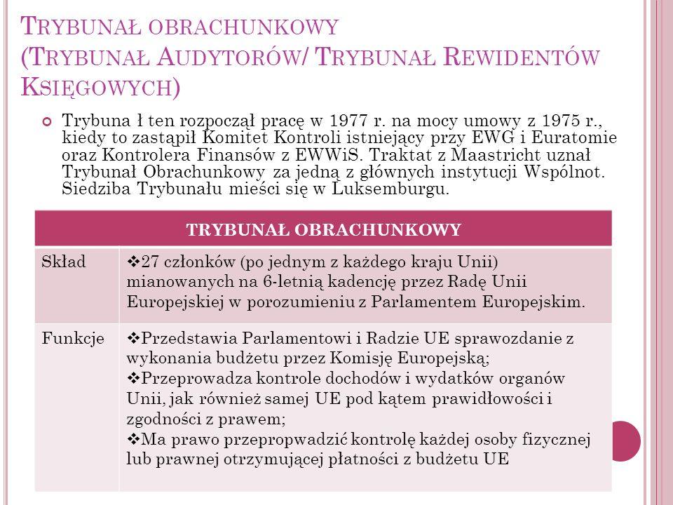 T RYBUNAŁ OBRACHUNKOWY (T RYBUNAŁ A UDYTORÓW / T RYBUNAŁ R EWIDENTÓW K SIĘGOWYCH ) Trybuna ł ten rozpoczął pracę w 1977 r. na mocy umowy z 1975 r., ki