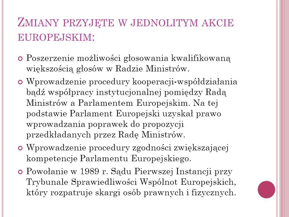 Z MIANY PRZYJĘTE W JEDNOLITYM AKCIE EUROPEJSKIM : Poszerzenie możliwości głosowania kwalifikowaną większością głosów w Radzie Ministrów. Wprowadzenie