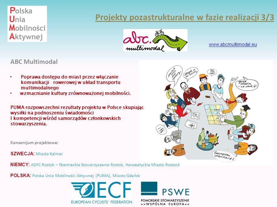 Projekty pozastrukturalne w fazie realizacji 3/3 ABC Multimodal www.abcmultimodal.eu PUMA rozpowszechni rezultaty projektu w Polsce skupiając wysiłki