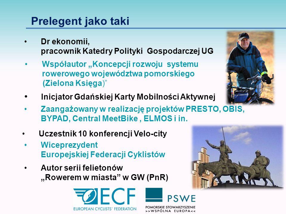 Zakłada osiągnięcie korzyści, które wynikają z tworzenia kompaktowych miast krótkich odległości w policentrycznej aglomeracji www.ecf.com Systemowa polityka rowerowa jako czynnik rozwoju regionu http://www.rowerowygdansk.pl/start,166,73.html