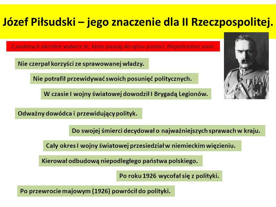 Józef Piłsudski – jego znaczenie dla II Rzeczpospolitej. Z podanych określeń wybierz te, które pasują do opisu postaci. Niepotrzebne usuń. Odważny dow