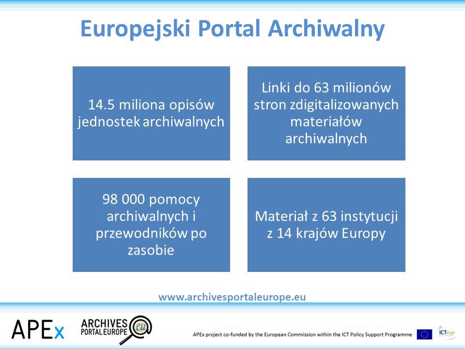 APEnet w polskich archiwach konwersja danych do formatu XML przygotowanie opisów Pod względem liczby przekazanych danych NDAP znajduje się na 5 miejscu wśród 16 krajów partnerskich uczestniczących w projekcie.
