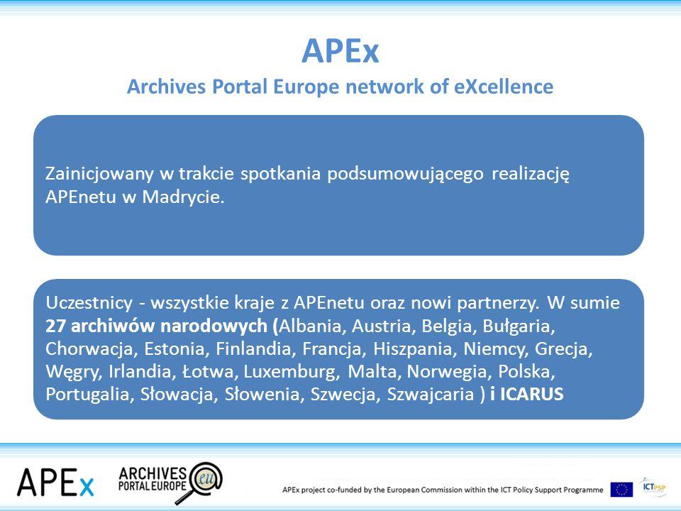 Cel APEx rozszerzenie portalu na kolejne kraje zwiększanie ilości materiału dostępnego w portalu rozwijanie narzędzi informatycznych, które ułatwią poszczególnym krajom samodzielne zarządzanie danymi, ich modyfikację i uzupełnianie praca nad pogłębianiem interoperacyjności z portalem Europeana oraz umożliwieniem łatwego transferu danych i obiektów zdigitalizowanych do Europeany