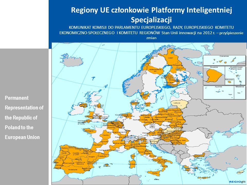 POLSKA Permanent Representation of the Republic of Poland to the European Union Inwestycje i nakładyOsiągnięcia/efekty gospodarcze Badania Intensywność B&R (R&D) Wartość 2011: 0.77% (EU: 2.03%; US: 2.75%) Tempo wzrostu 2000-2011: +1.6% (EU: +0.8%; US: +0.2%) Doskonałość w N&T(S&T) Wartość: 2010: 20.47 (EU:47.86; US: 56.68) Tempo wzrostu 2005-2010: +4.45% (EU: +3.09%;US: +0.53) Innowac.
